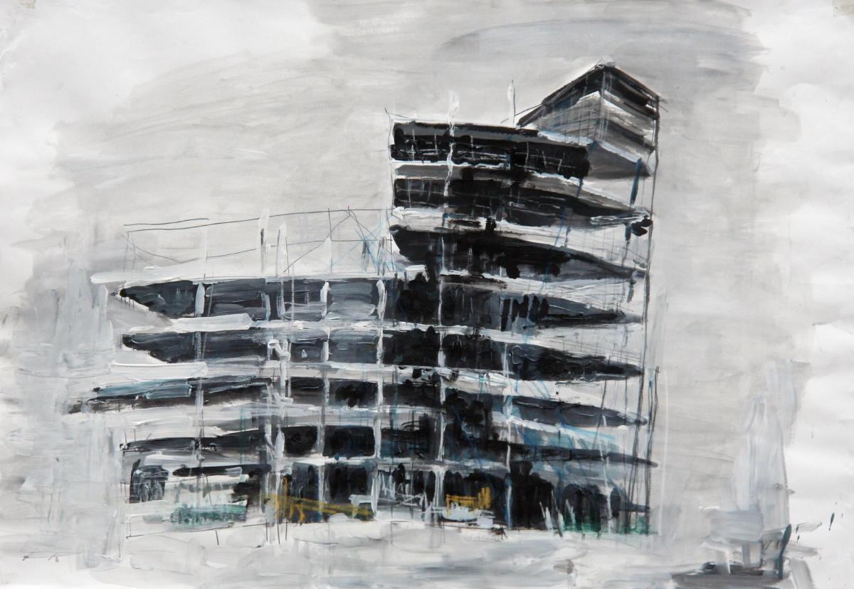 in aanbouw | acryl op papier | 70 x 100 cm | particuliere collectie