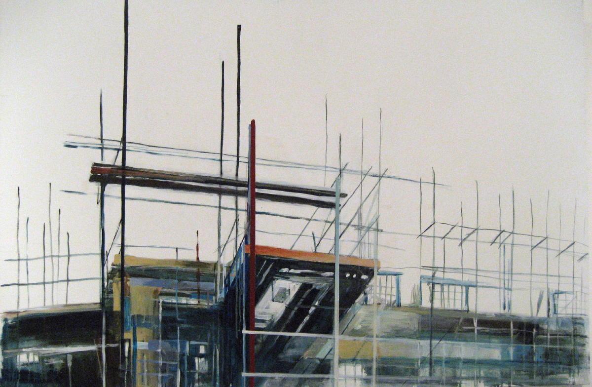 knollenveld | gemengde techniek op doek | 100 x 150 cm | particuliere collectie