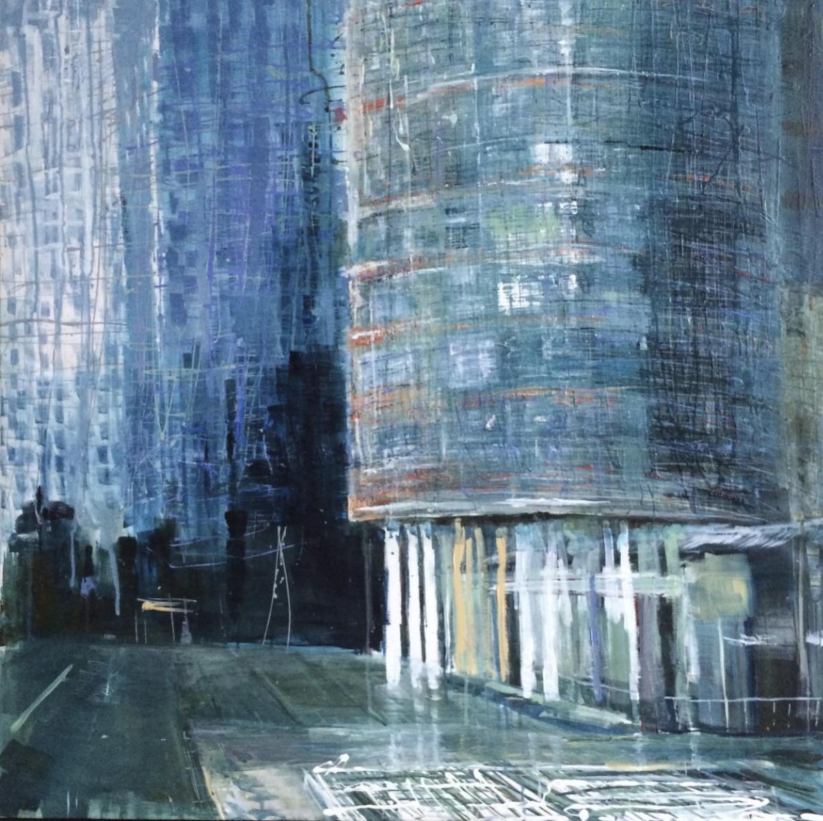 Rotterdam | gemengde technieken op doek | 100 x 100 cm.