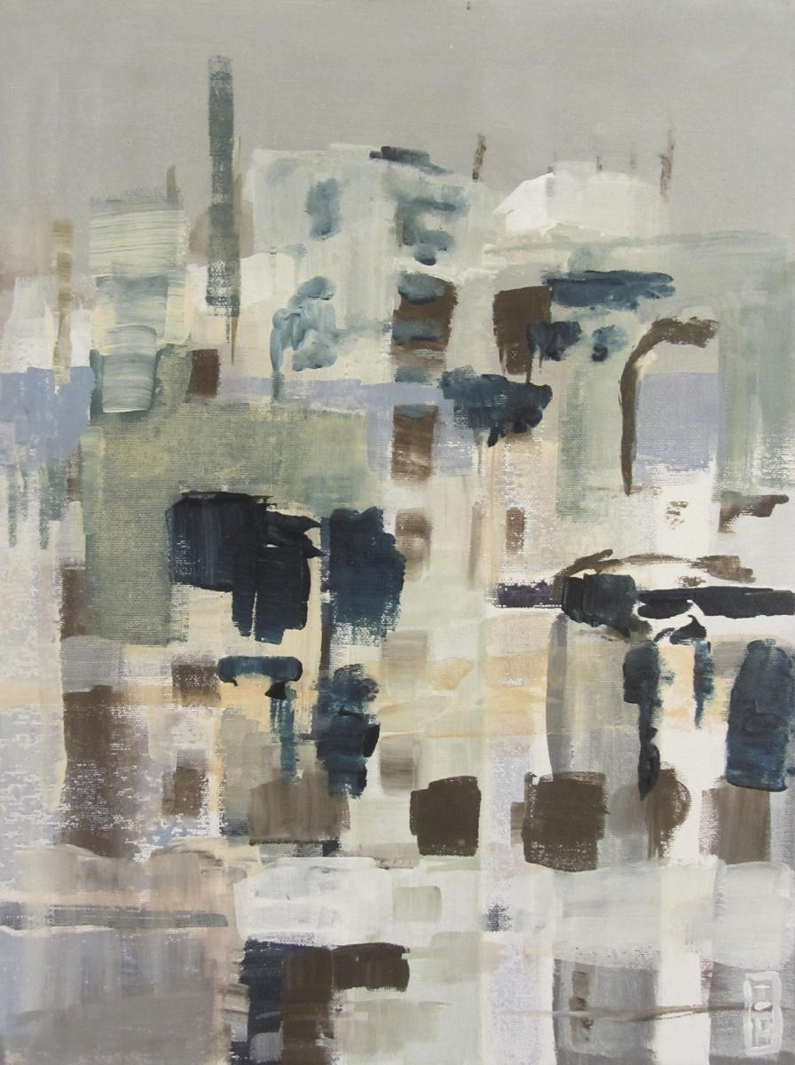 Linksom of rechtsom: de zee (1) | aAcryl op linnen | 40 x 30 cm | particuliere collectie