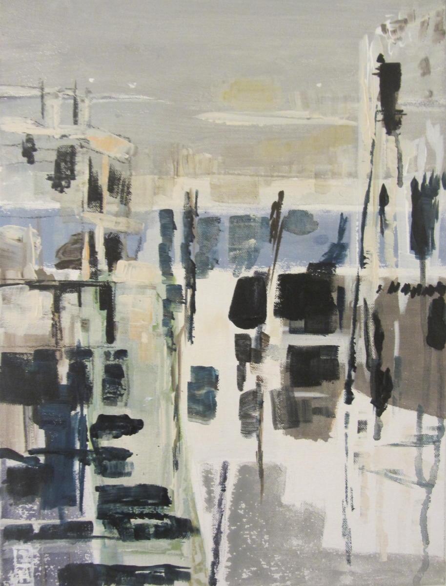 Linksom- of rechtsom: de zee | acryl op linnen | 40 x 30 cm. | Particuliere collectie
