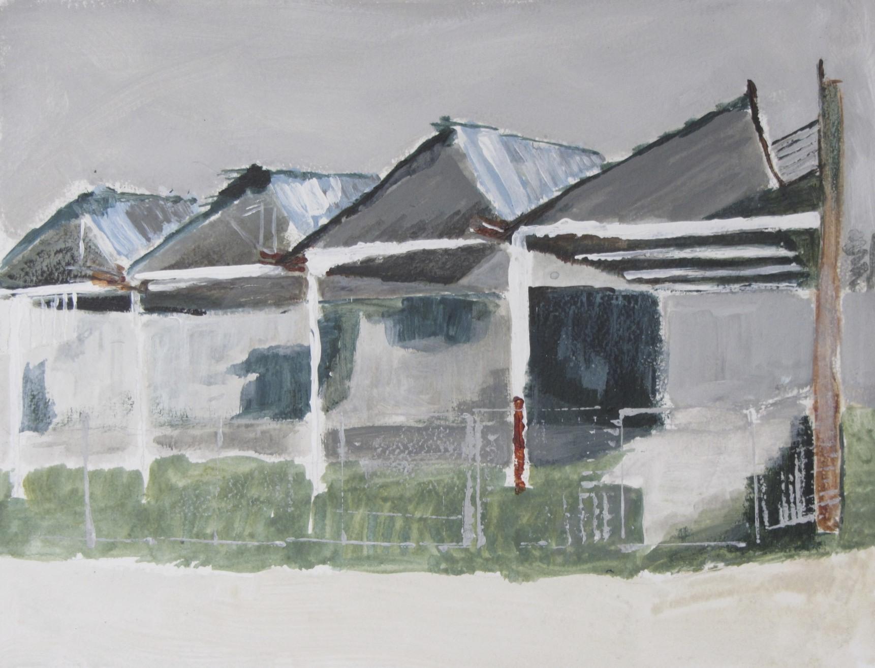 Sheddaken op Indiëcomplex 2 | Acryl op papier | 43 x 52,5 cm