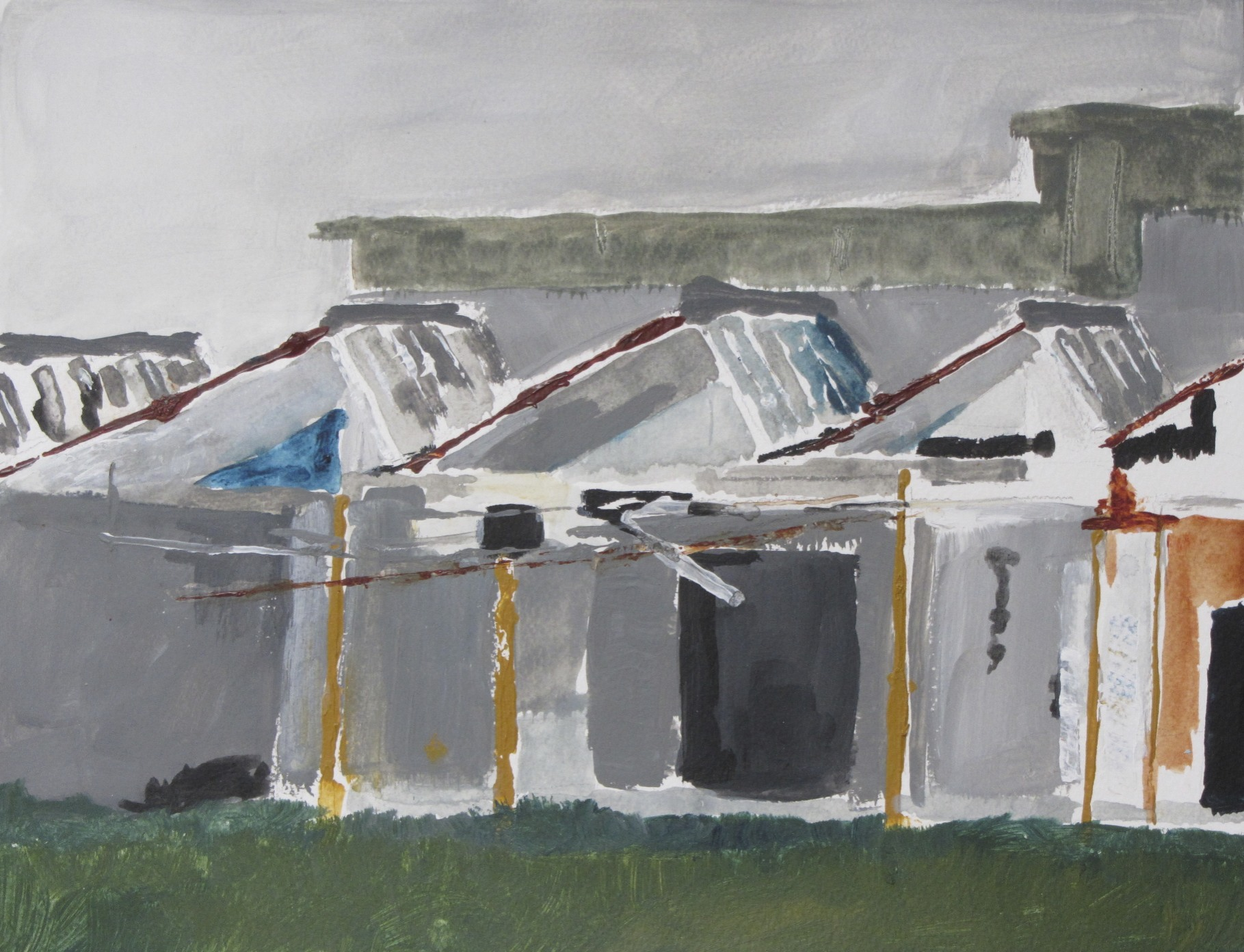 Sheddaken op Indiëcomplex 6 | Acryl op papier | 43 x 52,5 cm