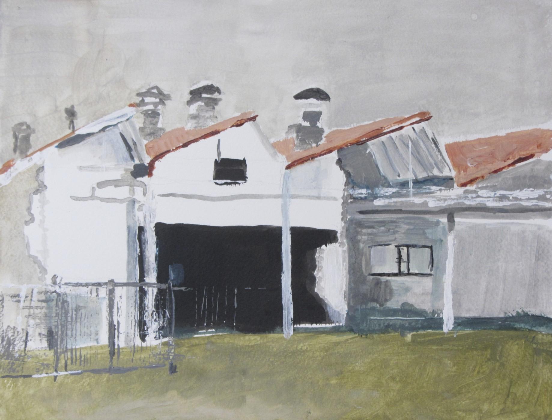 Sheddaken op Indiëcomplex 4 | Acryl op papier | 43 x 52,5 cm