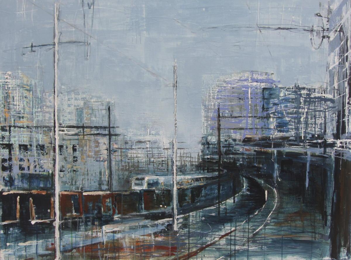 Utrecht Centraal | gemengde techniek op doek | 90 x 120 cm | particuliere collectie