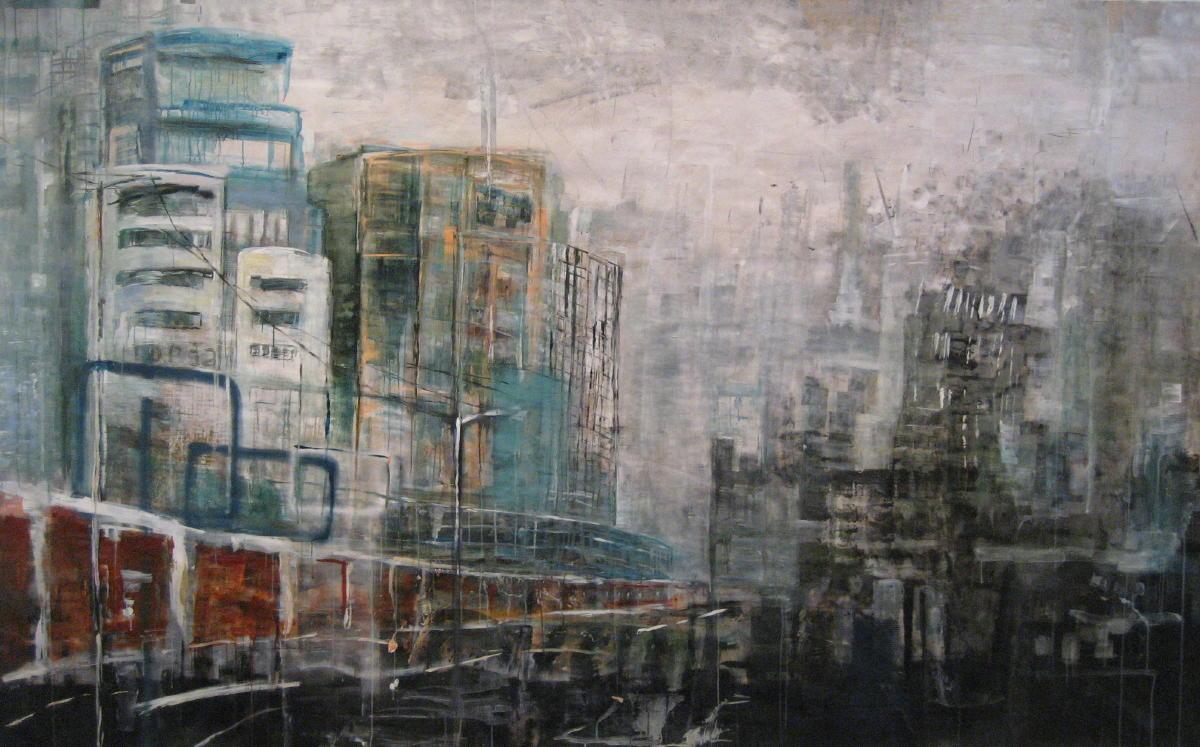 Verschijnen en verdwijnen | acryl op papier | 200 x 400 cm