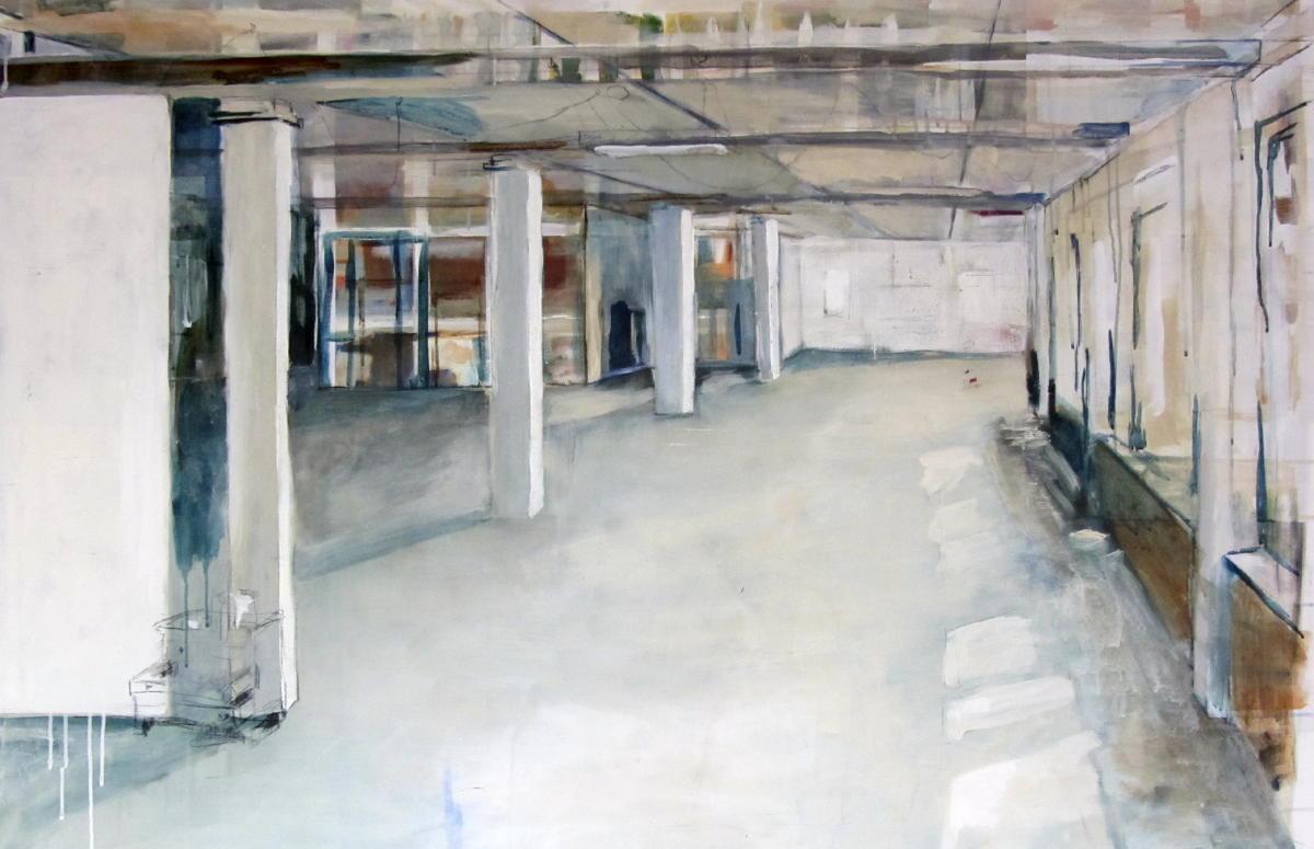 Atelier | Gemengde technieken op doek | 100 x 150 cm | Particuliere collectie