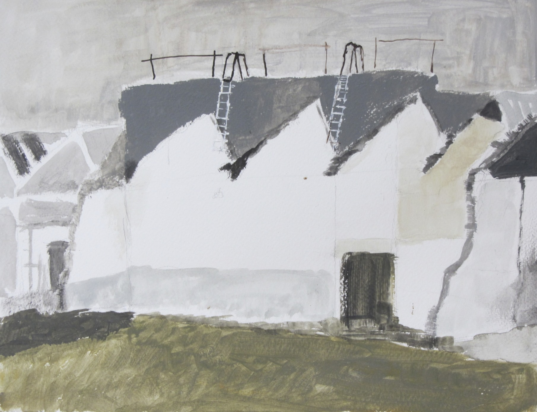 Sheddaken op Indiëcomplex 3 | Acryl op papier | 43 x 52,5 cm.