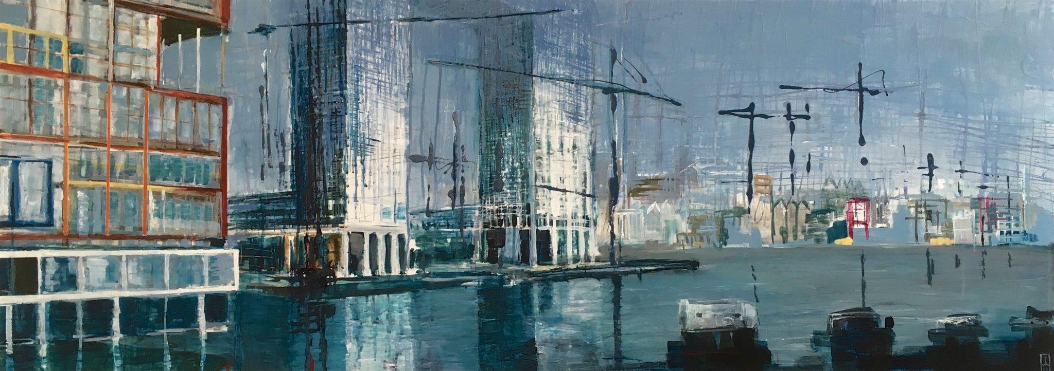 Hout Havens | gemengde techniek op doek | 60 x 180 cm | particuliere collectie