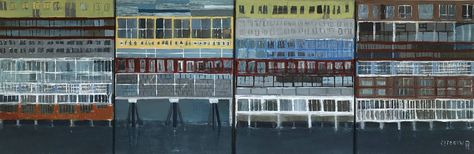 Silodam | acryl op doek | 4 x 40 x 30 cm | particuliere collectie