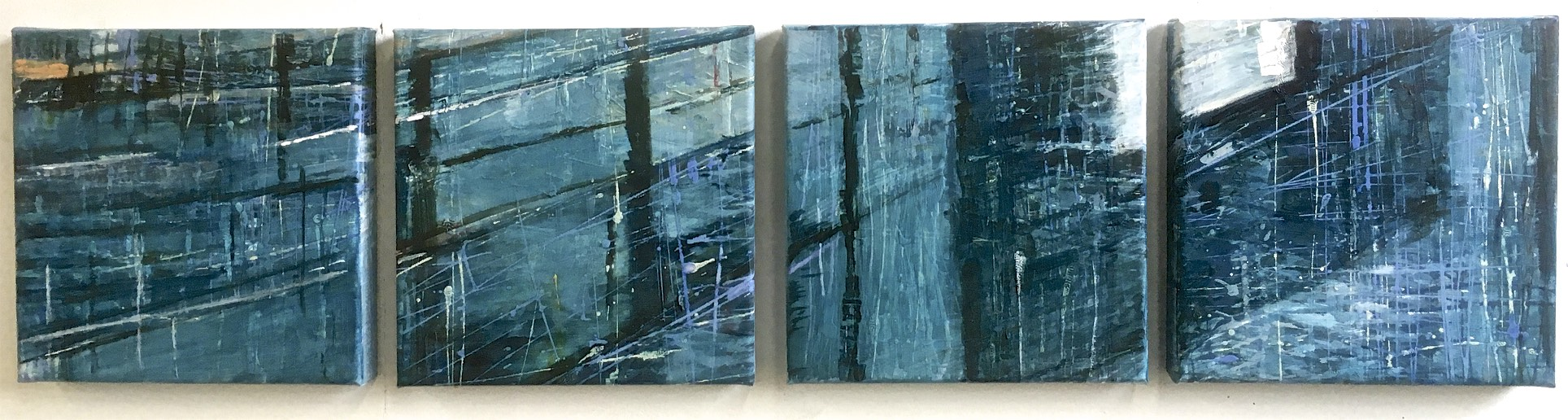 Houthavens 4 | Vierluik | acryl op doek | 30 x 120 cm
