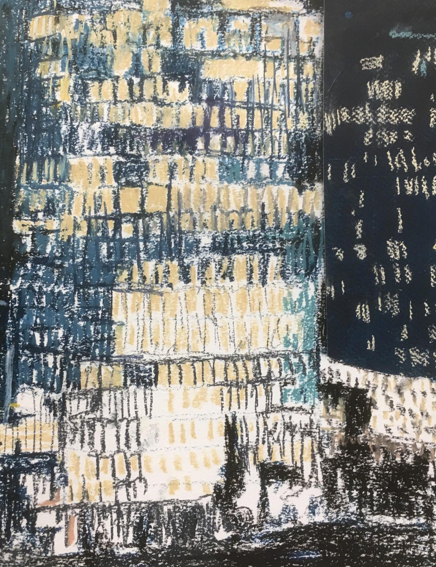 Verlichting 1, pastel op papier, 29 x 21 cm