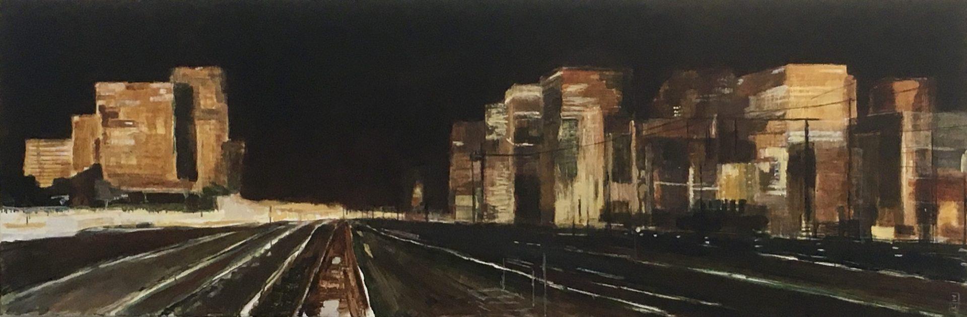 Station Zuid/WTC, nacht I Acryl op doek I 60 x 180 cm. I