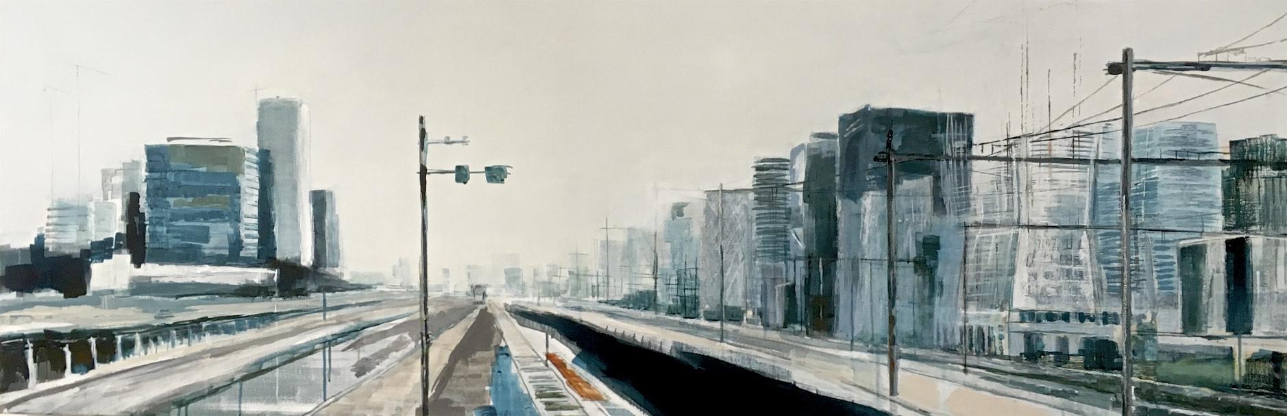Station Zuid/WTC, acryl op doek I 60 x 180 cm I