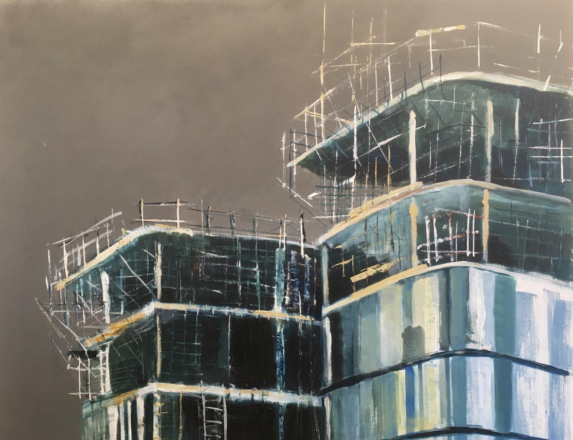 bouwplaats 3, 80 x 100 cm, acryl op doek, 1260 euro